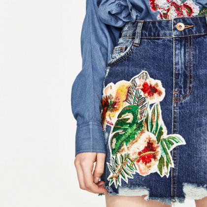 Floral Embroidered High Rise Denim ..
