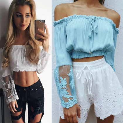 Fashion off shoulder long sleeve la..
