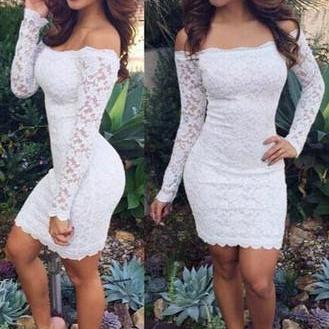 CUTE ONE WORD LACE LONG SLEEVE DRES..