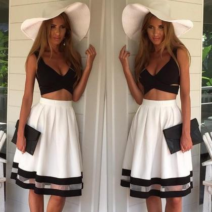 Cute Two Piece Black White Dress on Luulla