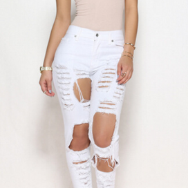 SEXY FASHION RIPPED JEANS FEET PANT..