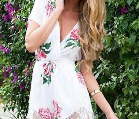 HOT FLOWER LACE ROMPER JUMPSUIT