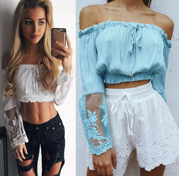 Fashion off shoulder long sleeve lace splicing belly hollow strapless top