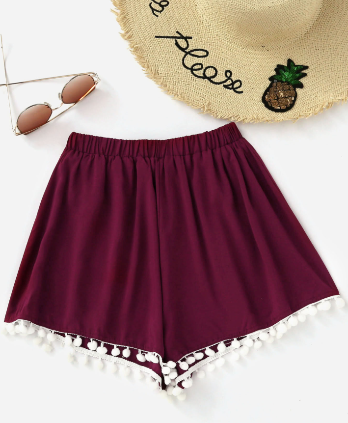New casual straight trousers cotton stitching elastic waist fringed shorts women