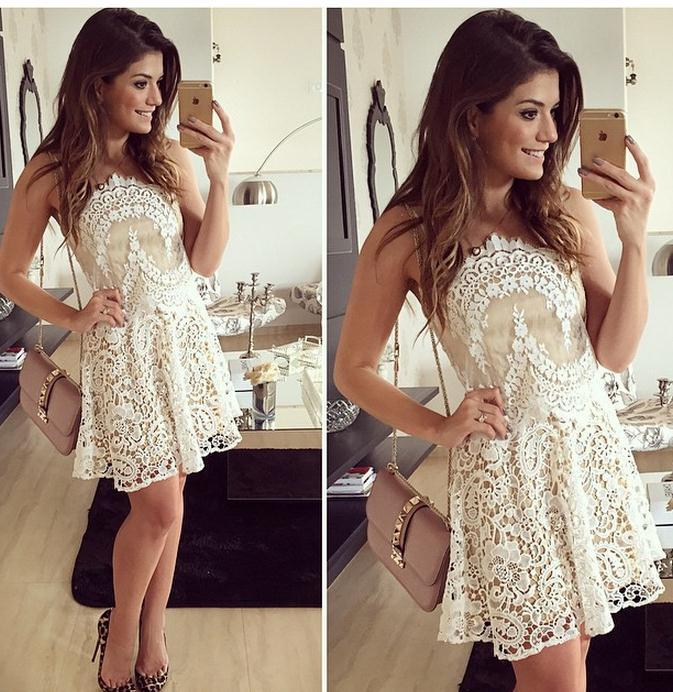 on sale SEXY STRAPLESS DRESS WITH ELEGANT LACE