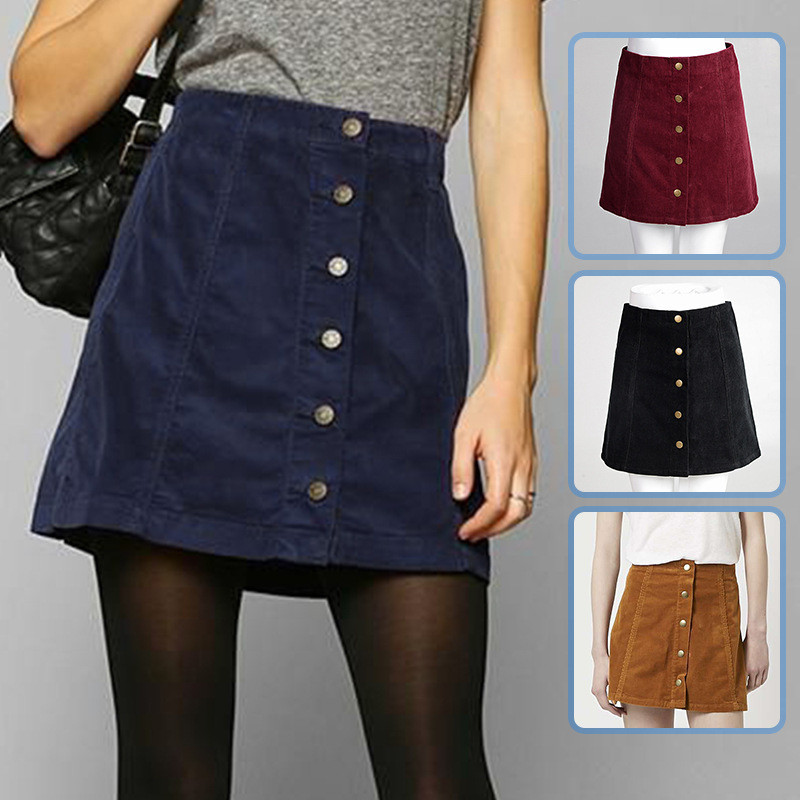 Short A-Line Corduroy Skirt Featuring Button Front