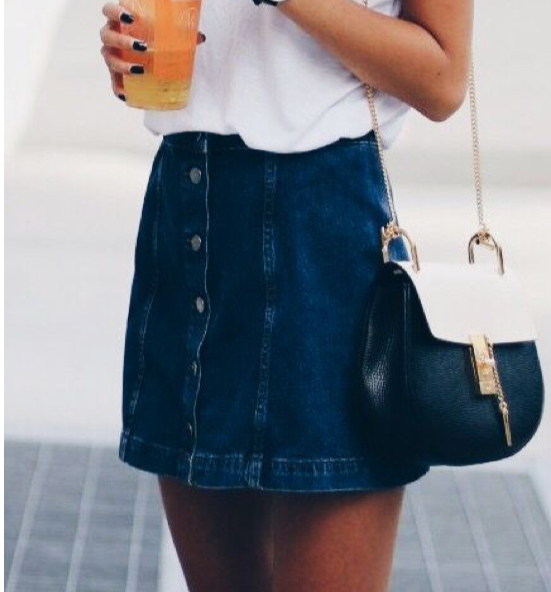 high waisted a line button mini denim skirt on luulla