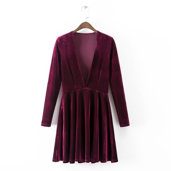Plunge V-neck Long-sleeved Velvet Skater Dress