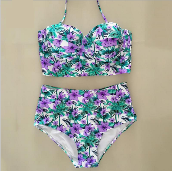 Sexy fashion high waist gather two piece bikini floral green leaf purple flower