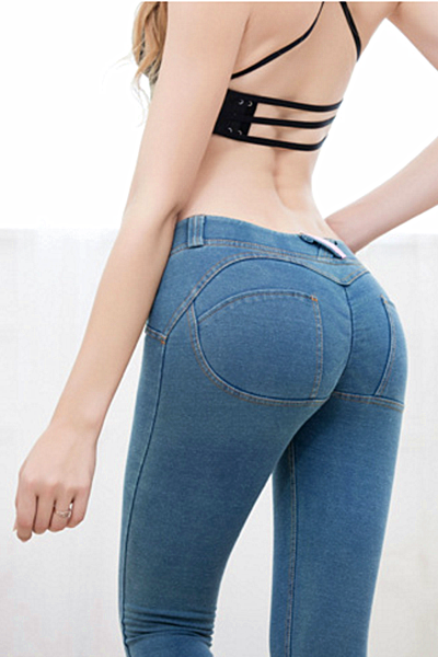 Hot sale denim hip yoga gym carry buttock pants roses