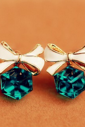 Fashionable lovely sweet a pair of bow and gemstone earrings