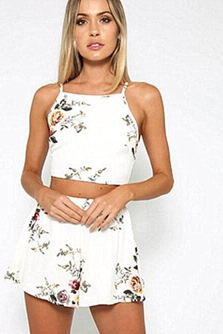 White Floral Print Two-Piece Set Featuring Halter Cropped Top and Shorts