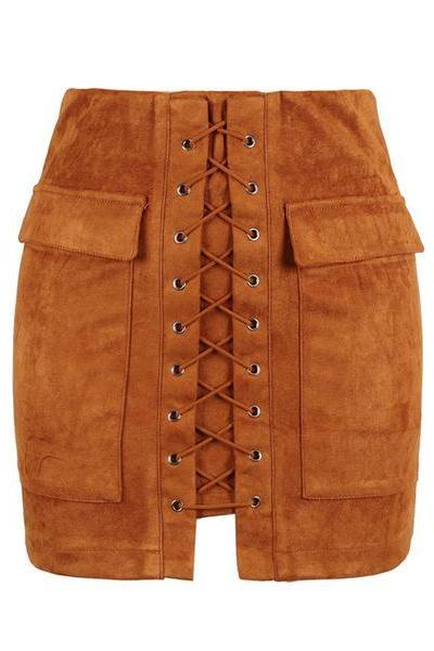 Brown Faux Suede Lace-Up Front Short Pencil Skirt
