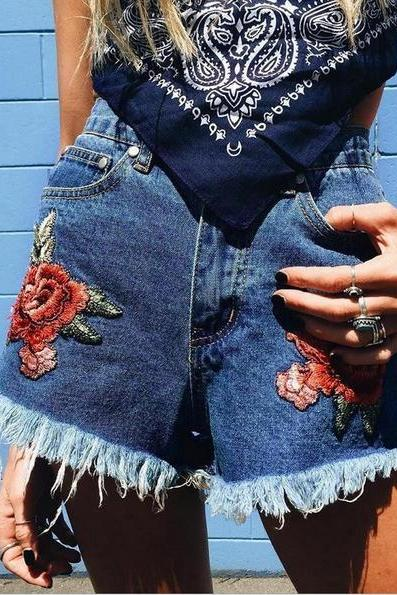 Sexy Best Short Cowboy Embroidery Rose Blue Shorts