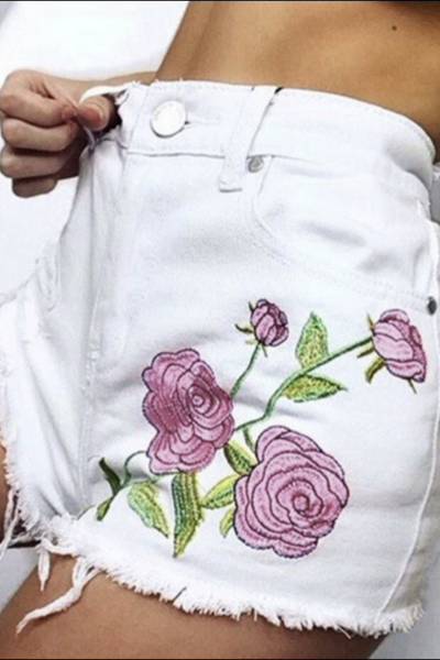 Summer Fashion Roses Embroider Cowboy Shorts Women