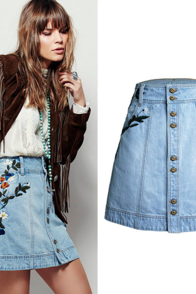 Floral Embroidered Light-Washed Denim Button Down Short A-Line Skirt Featuring High Rise