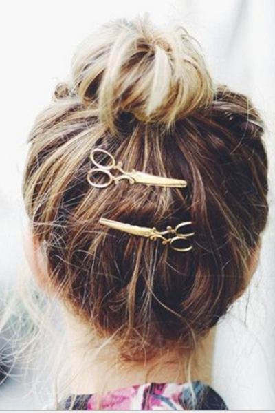 Contracted small scissors hair card, alloy headgear hair clip