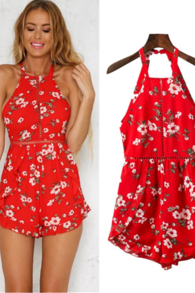 Red Floral Print Halter Neck Romper Featuring Tie Accent Open Back