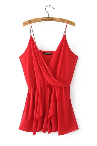 Summer new women 's deep V - neck strap solid color dress