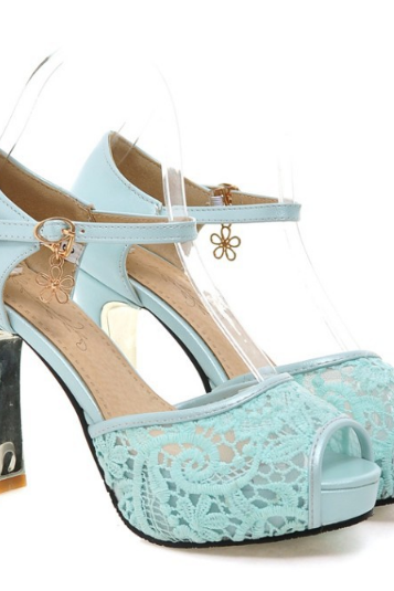HOT LACE HIGH HEEL SHOES CUTE FASHION