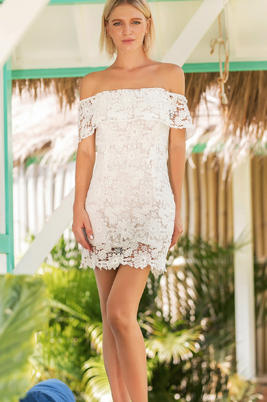 HOT OFF SHOULDER WHITE LACE DRESS