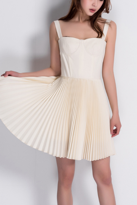 Fishbone, beige Pleated Dress, small dress, high waist sling skirt