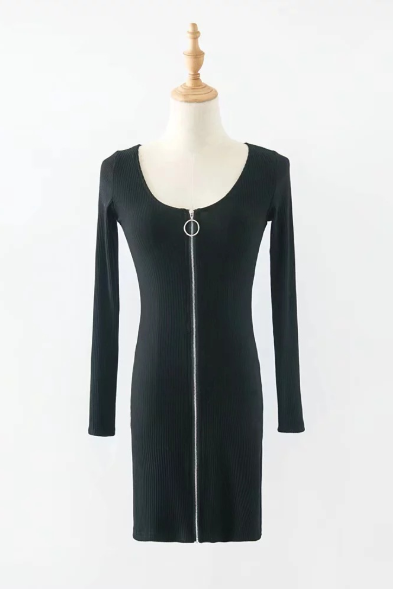 Long sleeved dress for women's autumn and winter wear with round collar and slim zipper wrap