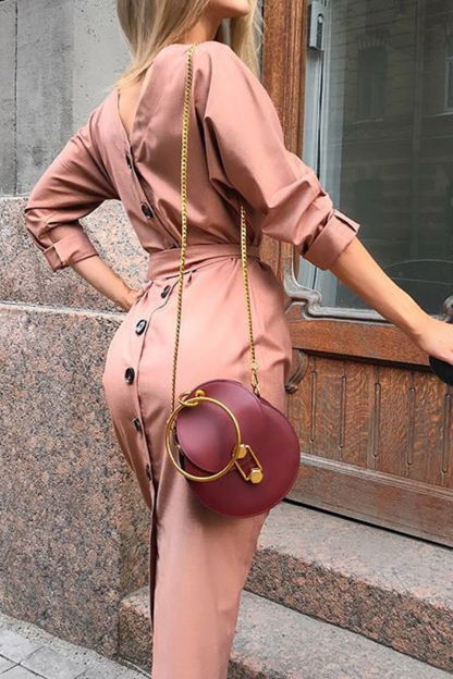Autumn and winter long-sleeved button-back dress