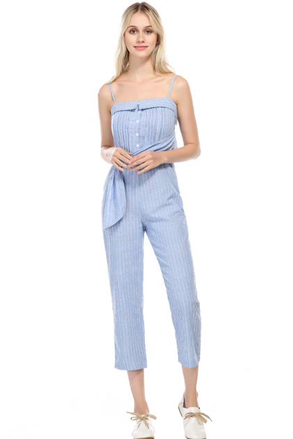 Condole belt sexy backless show thin with tall waist trousers accept waist jumpsuits women