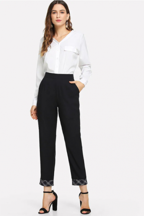 New casual trousers female fashion slim slim small trousers nine points