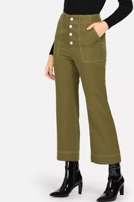 Bell-bottom trousers women's high-waisted black super fire casual pants new linen seven-point pants