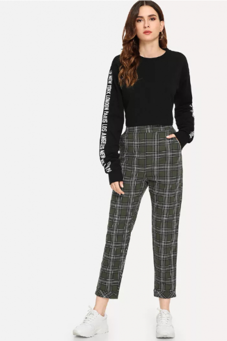 New plaid pants female harem pants nine points high waist small feet casual pants female pants