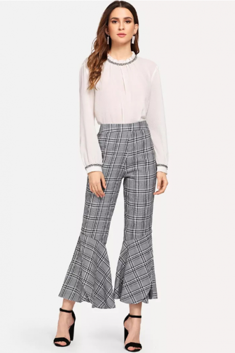 New style retro plaid casual pants show thin flared trousers
