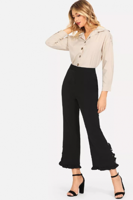 Bell trousers high waist super fire casual pants new nine - cent pants