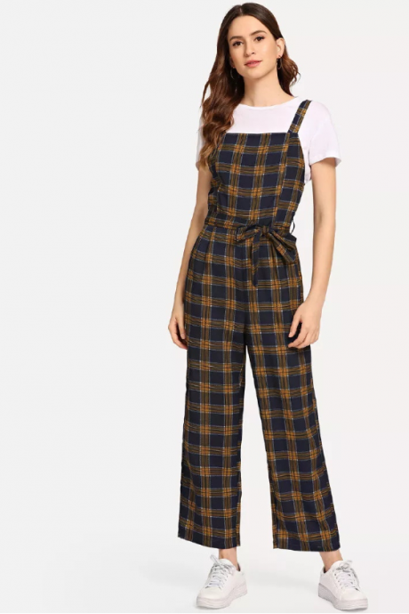 New plaid suspender pants women's wide-leg pants suspender jumpsuit