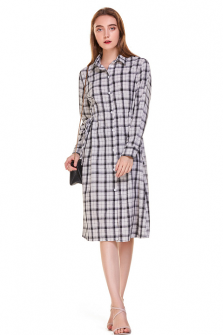 New women's dress lapel slim waist long sleeve plaid dress