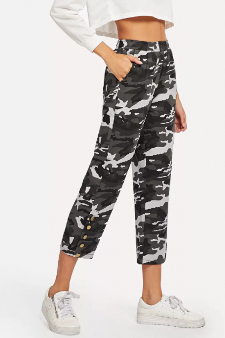 New camouflage lady straight trousers slim waist elastic casual seven - point pants