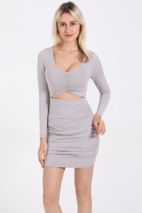 Hot style long sleeved sexy slim dress