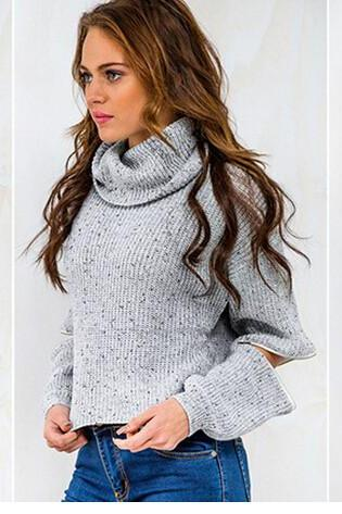 Turtleneck Knitted Long Sleeves Cropped Sweater Featuring Side Sleeve Zipper