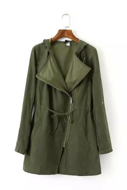 HOT GREEN Show thin coat lapel rope loose tarmac trench coat LOWEST PRICE