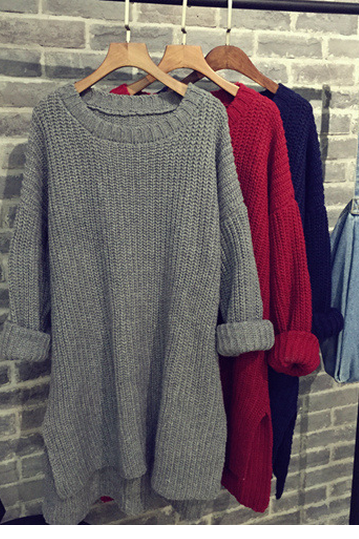 FASHION LONG SECTION OF THICK LOOSE PULLOVER SWEATER