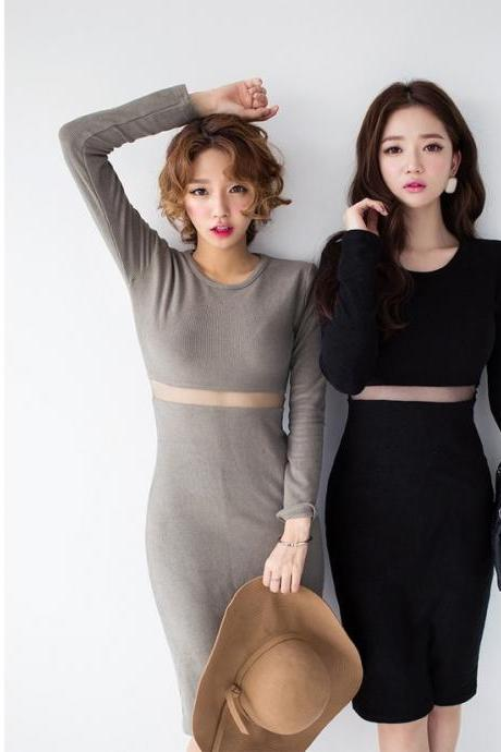 FASHION KNIT NET WAIST SEXY LONG DRESS
