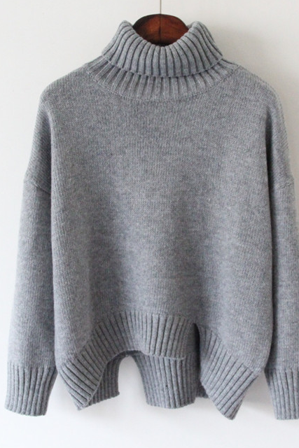 Knitted Turtleneck Sweater Featuring Slits