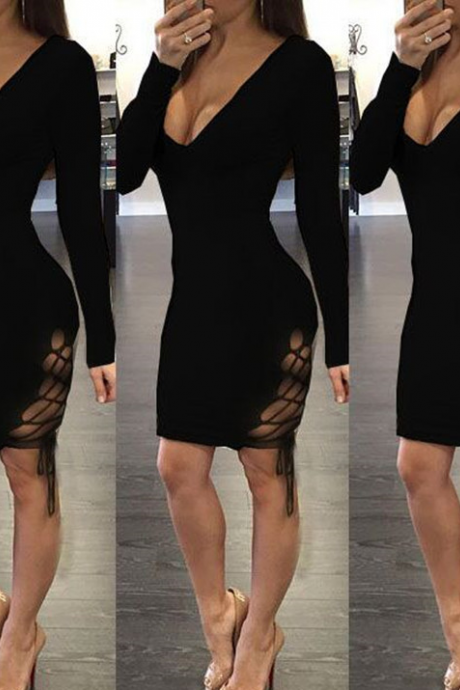HOT LONG SLEEVE CROSS BOW DRESS