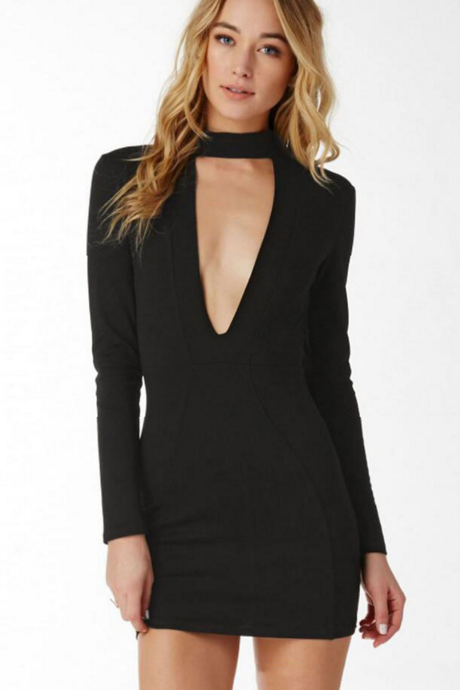 HOT DEEP V SEXY LONG SLEEVE DRESS