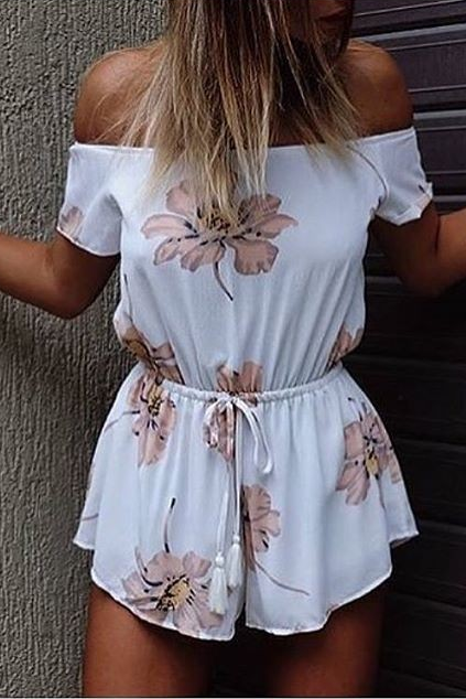 Off-the-Shoulder Romper with Floral Prints