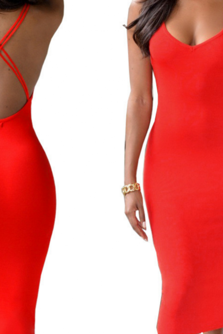 HOT RED CROSS BACKLESS DRESS