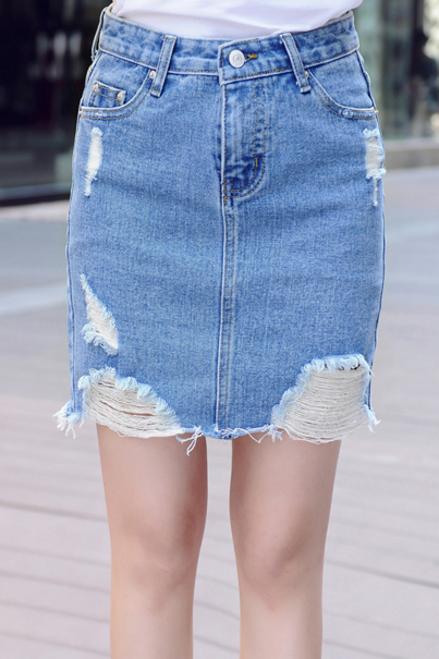 Short Distressed Denim Pencil Skirt