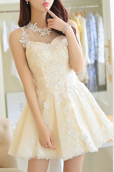 FASHION LACE FULL FLOWER DRESS