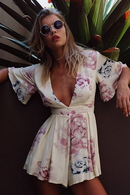 HOT DEEP V FLORAL ROMPER PLAYSUIT